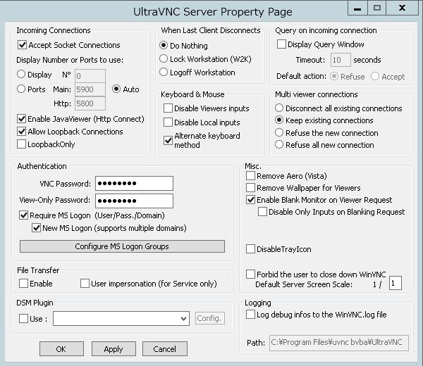 uvnc_server_properties
